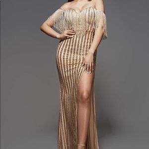 Gold and nude prom dress